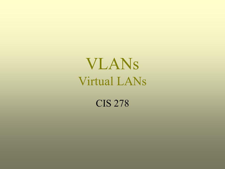 VLANs Virtual LANs CIS 278