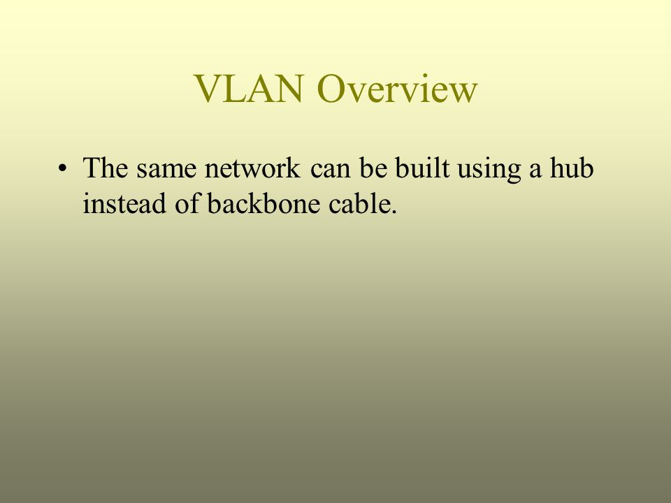 The same network can be built using a hub instead of backbone cable.