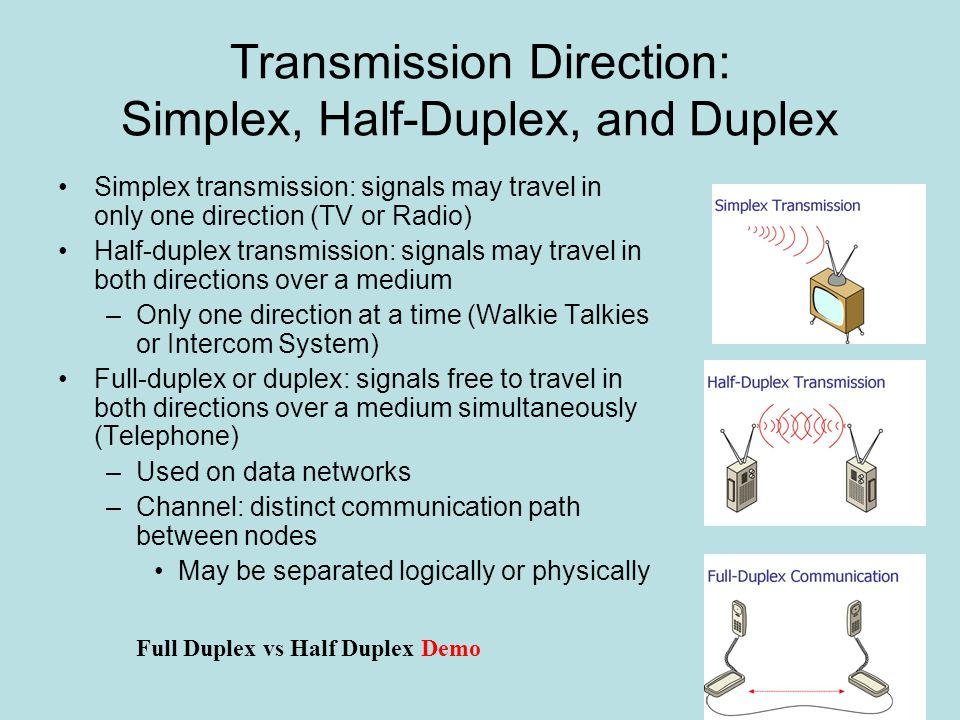 Transmission Direction: Multiplexing Multiplexing: transmission form allowing multiple signals to travel simultaneously over one medium –Channel logically separated into subchannels Multiplexer (mux): combines multiple signals –Sending end of channel Demultiplexer (demux): separates combined signals and regenerates them in original form –Receiving end of channel