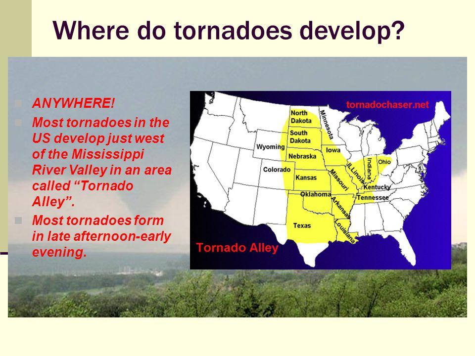 How do tornadoes develop.Warm humid air collides with a cold front.