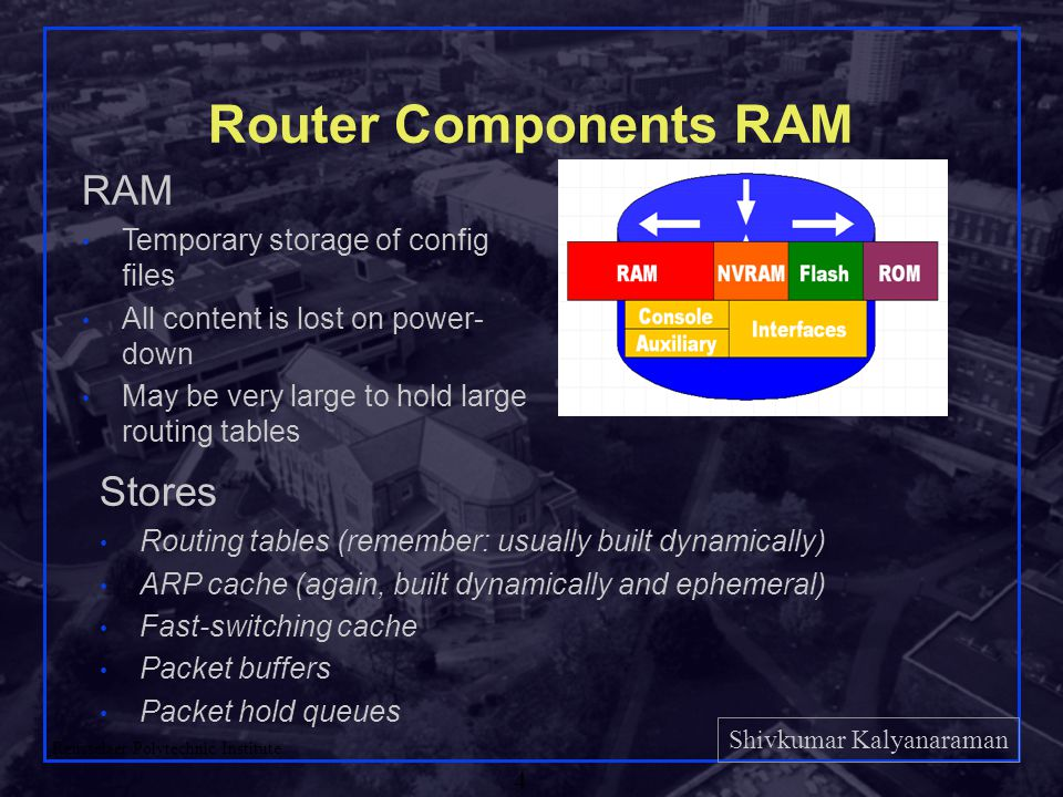Shivkumar Kalyanaraman Rensselaer Polytechnic Institute 4 Router Components RAM RAM Temporary storage of config files All content is lost on power- do