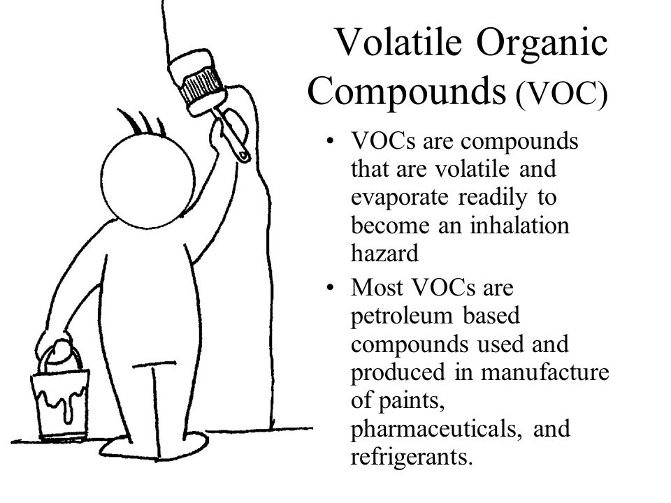 Volatile Organic Compounds (VOC) VOCs are compounds that are volatile and evaporate readily to become an inhalation hazard Most VOCs are petroleum based compounds used and produced in manufacture of paints, pharmaceuticals, and refrigerants.