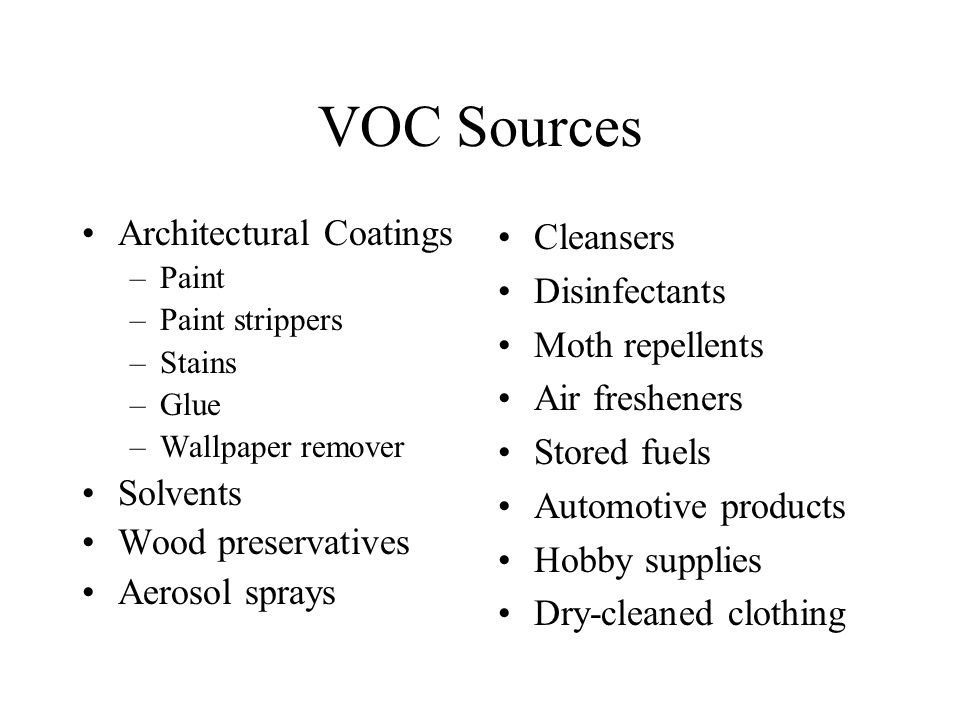 VOC Sources Architectural Coatings –Paint –Paint strippers –Stains –Glue –Wallpaper remover Solvents Wood preservatives Aerosol sprays Cleansers Disinfectants Moth repellents Air fresheners Stored fuels Automotive products Hobby supplies Dry-cleaned clothing