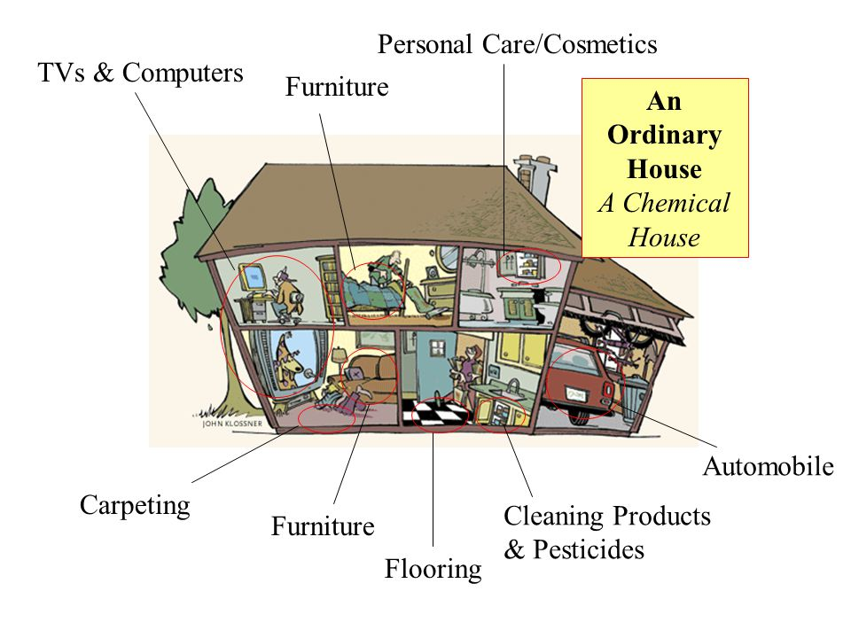 An Ordinary House A Chemical House TVs & Computers Personal Care/Cosmetics Cleaning Products & Pesticides Flooring Furniture Carpeting Furniture Automobile