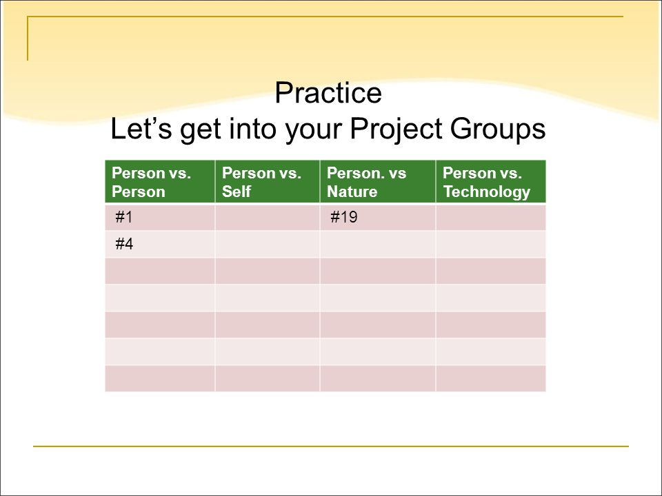 Practice Let's get into your Project Groups Person vs.