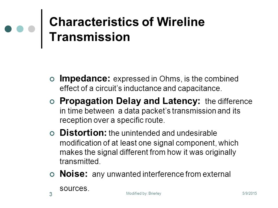 Characteristics of Wireline Transmission Impedance: expressed in Ohms, is the combined effect of a circuit's inductance and capacitance.