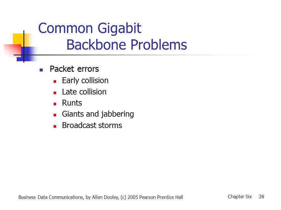 Business Data Communications, by Allen Dooley, (c) 2005 Pearson Prentice Hall Chapter Six 28 Common Gigabit Backbone Problems Packet errors Early collision Late collision Runts Giants and jabbering Broadcast storms