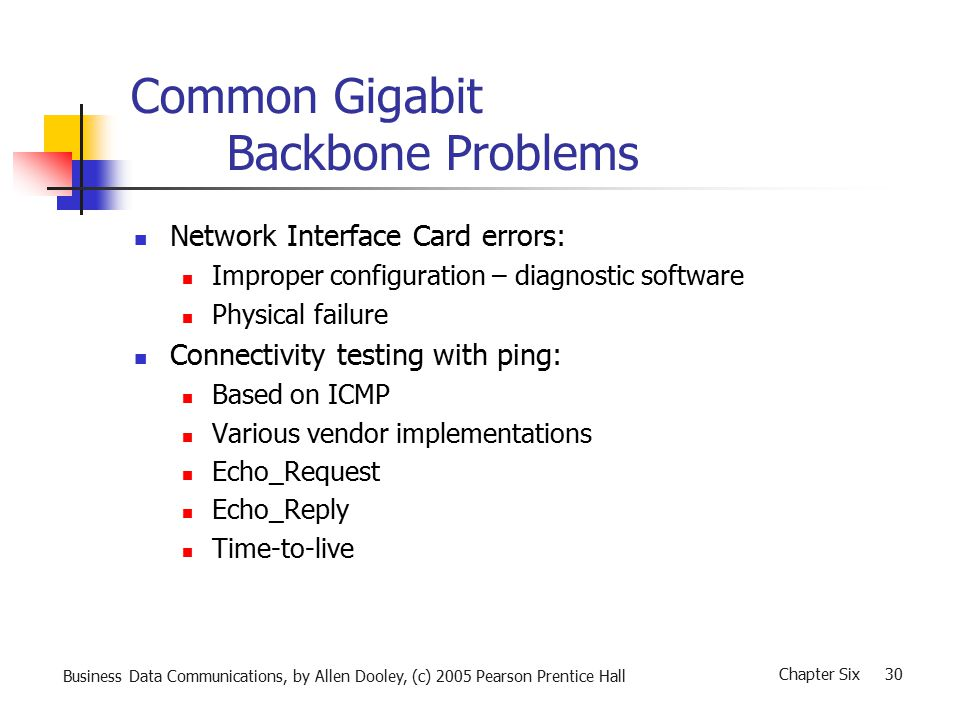 Business Data Communications, by Allen Dooley, (c) 2005 Pearson Prentice Hall Chapter Six 30 Common Gigabit Backbone Problems Network Interface Card errors: Improper configuration – diagnostic software Physical failure Connectivity testing with ping: Based on ICMP Various vendor implementations Echo_Request Echo_Reply Time-to-live