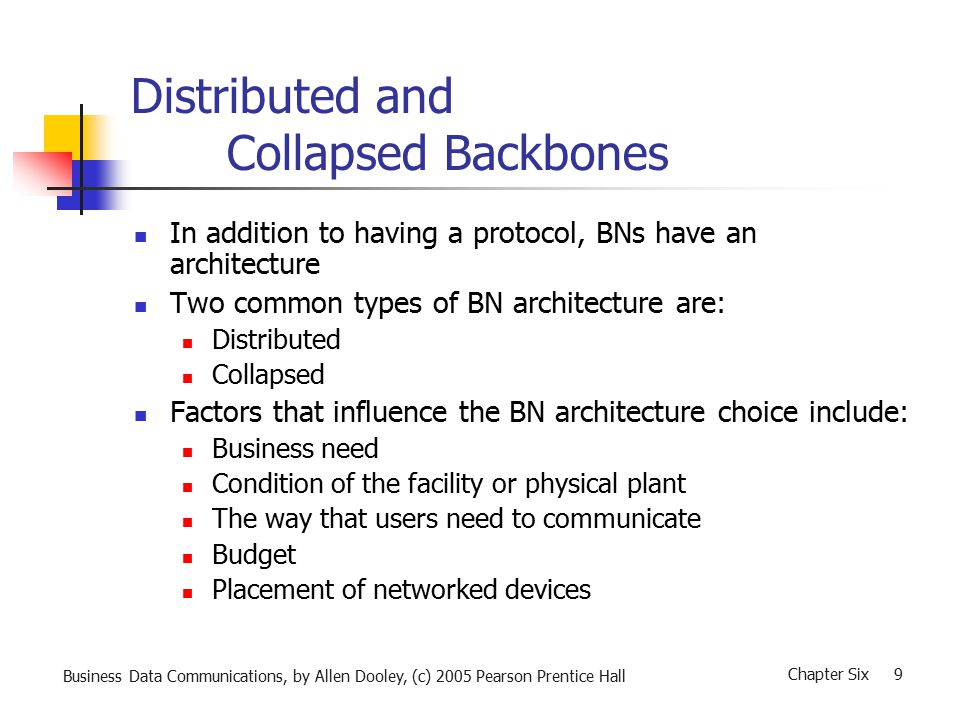Business Data Communications, by Allen Dooley, (c) 2005 Pearson Prentice Hall Chapter Six 9 Distributed and Collapsed Backbones In addition to having a protocol, BNs have an architecture Two common types of BN architecture are: Distributed Collapsed Factors that influence the BN architecture choice include: Business need Condition of the facility or physical plant The way that users need to communicate Budget Placement of networked devices