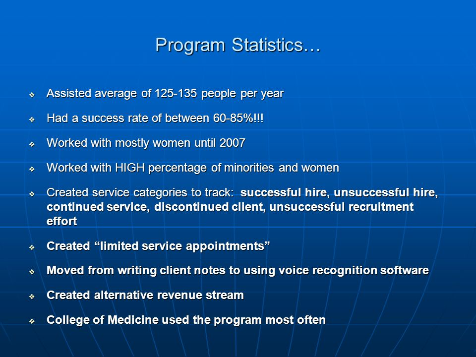 Program Statistics…  Assisted average of 125-135 people per year  Had a success rate of between 60-85%!!.