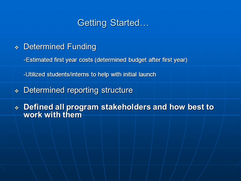 Getting Started…  Determined Funding - Estimated first year costs (determined budget after first year) -Utilized students/interns to help with initial launch  Determined reporting structure  Defined all program stakeholders and how best to work with them