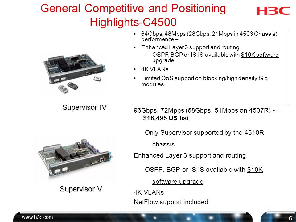 www.h3c.com 7 General Competitive and Positioning highlights-C4500 136Gbps, 72Mpps (68Gbps, 51Mpps on 4507R) 2 10GBase-X Xenpak sockets and 4 Gig SFPs Xenpak or SFP uplink, not both at the same time Enhanced Layer 3 support and routing OSPF, BGP or IS:IS available with $10K software upgrade 4K VLANs NetFlow support included