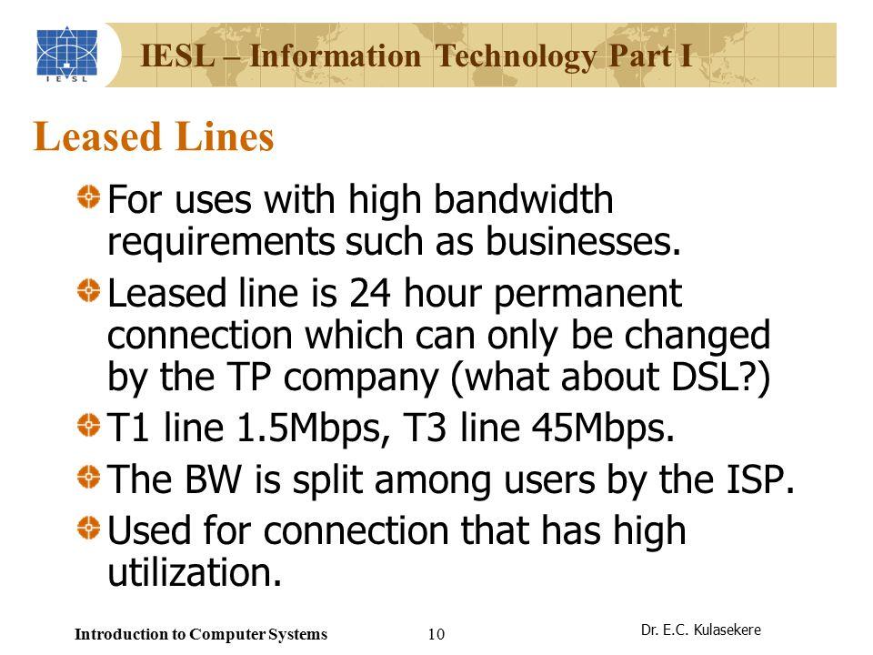 IESL – Information Technology Part I Dr. E.C.