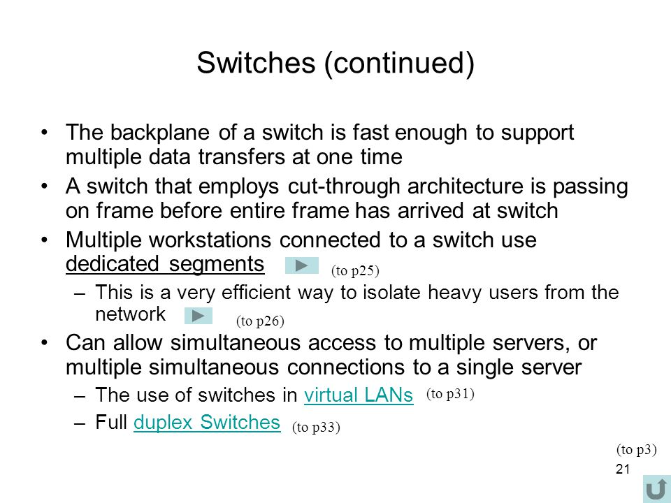 21 Switches (continued) The backplane of a switch is fast enough to support multiple data transfers at one time A switch that employs cut-through architecture is passing on frame before entire frame has arrived at switch Multiple workstations connected to a switch use dedicated segments –This is a very efficient way to isolate heavy users from the network Can allow simultaneous access to multiple servers, or multiple simultaneous connections to a single server –The use of switches in virtual LANsvirtual LANs –Full duplex Switchesduplex Switches (to p26) (to p31) (to p33) (to p3) (to p25)
