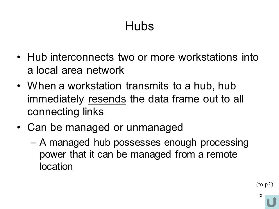 5 Hubs Hub interconnects two or more workstations into a local area network When a workstation transmits to a hub, hub immediately resends the data frame out to all connecting links Can be managed or unmanaged –A managed hub possesses enough processing power that it can be managed from a remote location (to p3)