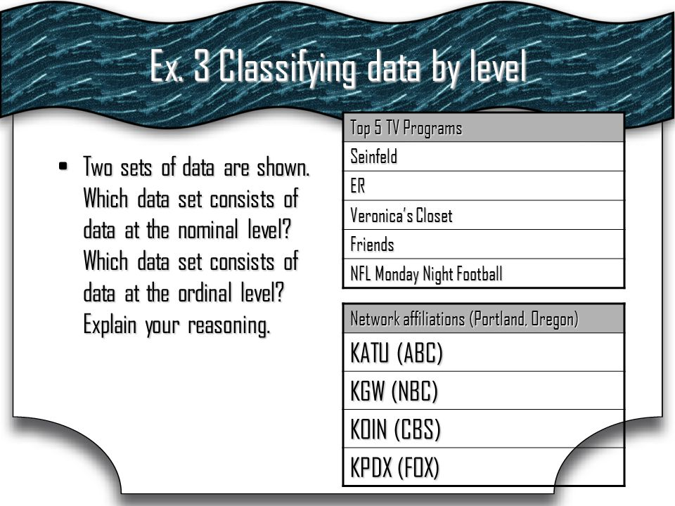 Ex. 3 Classifying data by level Two sets of data are shown.