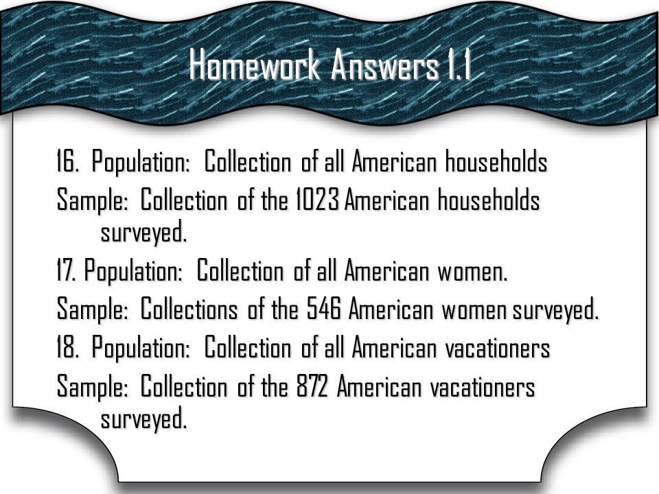 Homework Answers 1.1 16.