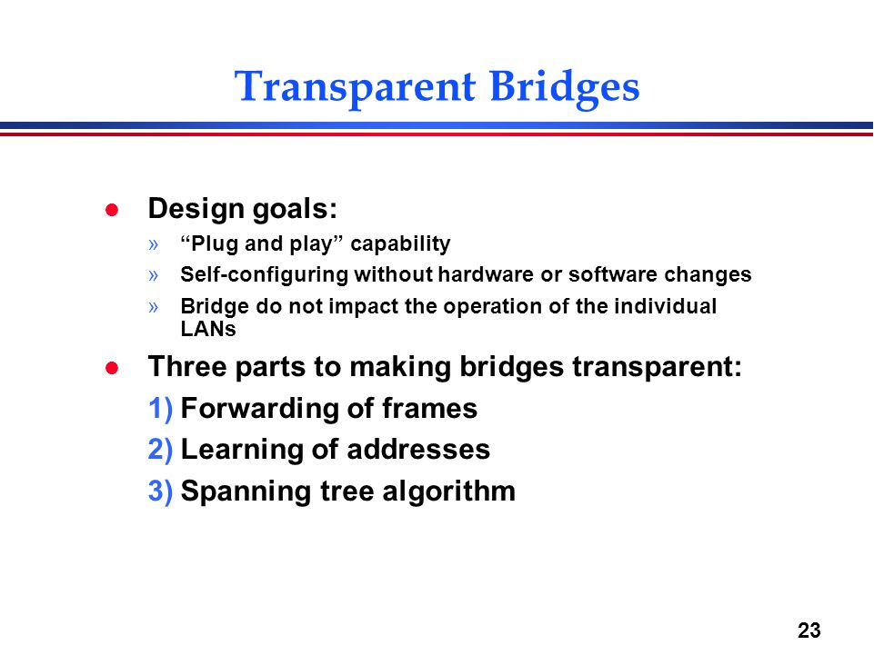 23 Transparent Bridges l Design goals: » Plug and play capability »Self-configuring without hardware or software changes »Bridge do not impact the operation of the individual LANs l Three parts to making bridges transparent: 1)Forwarding of frames 2)Learning of addresses 3)Spanning tree algorithm