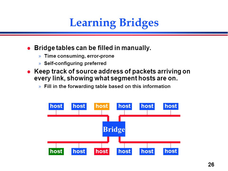 26 Learning Bridges l Bridge tables can be filled in manually.