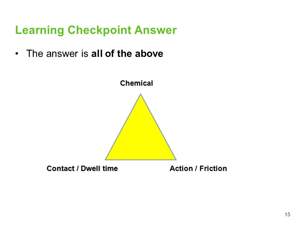 15 Learning Checkpoint Answer The answer is all of the above Chemical Action / Friction Contact / Dwell time