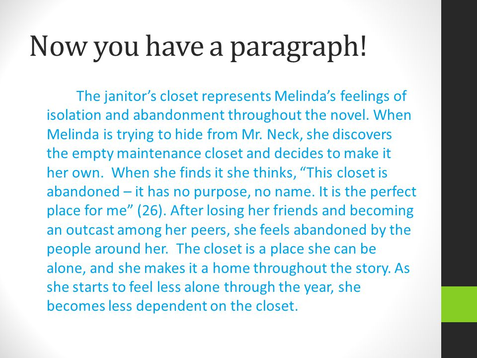 Now you have a paragraph! The janitor's closet represents Melinda's feelings of isolation and abandonment throughout the novel. When Melinda is trying