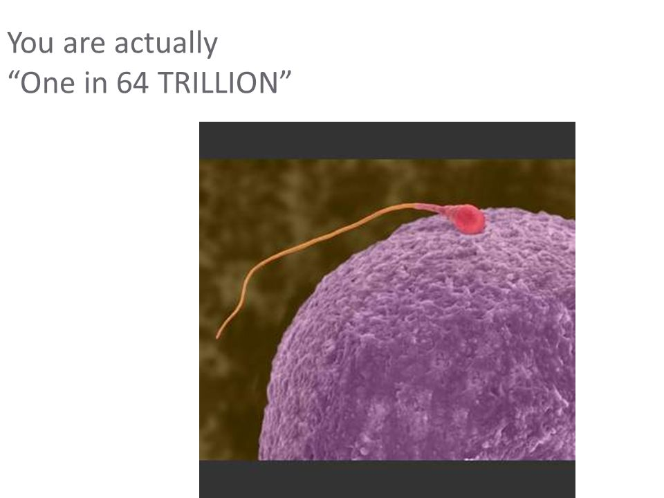 """You are actually """"One in 64 TRILLION"""""""