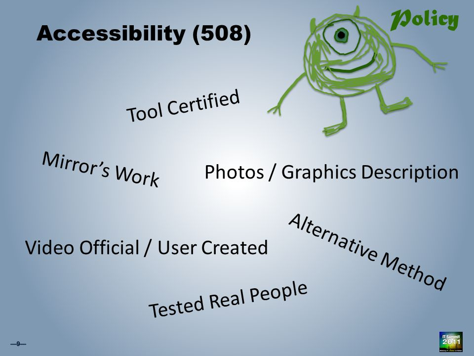 Accessibility (508) Tool Certified Video Official / User Created Alternative Method Policy Tested Real People Photos / Graphics Description Mirror's Work