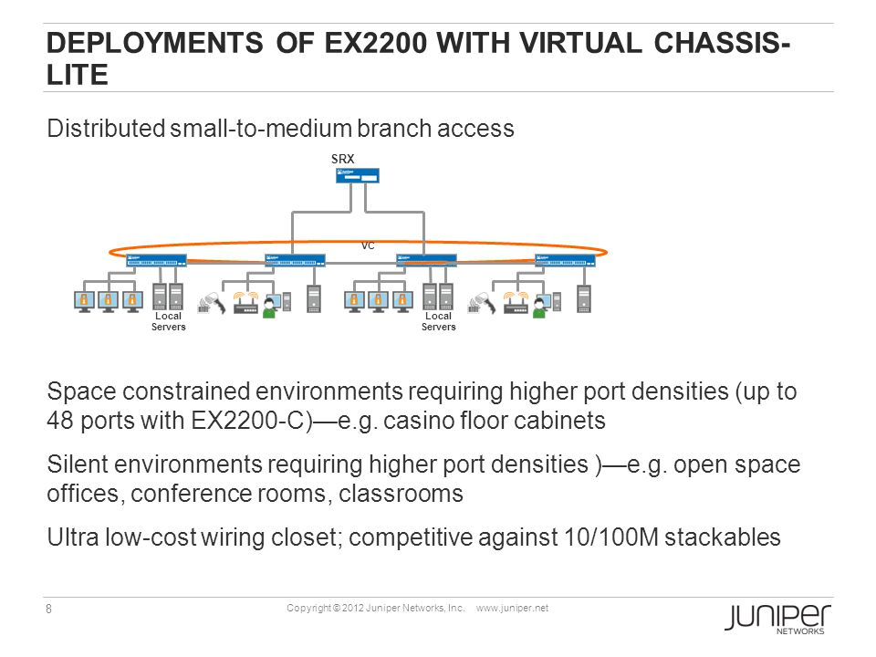 8 Copyright © 2012 Juniper Networks, Inc. www.juniper.net Local Servers SRX VC Local Servers DEPLOYMENTS OF EX2200 WITH VIRTUAL CHASSIS- LITE Distribu