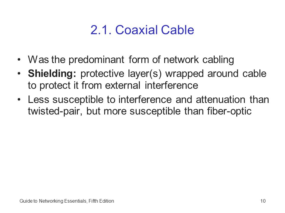 Guide to Networking Essentials, Fifth Edition10 2.1.