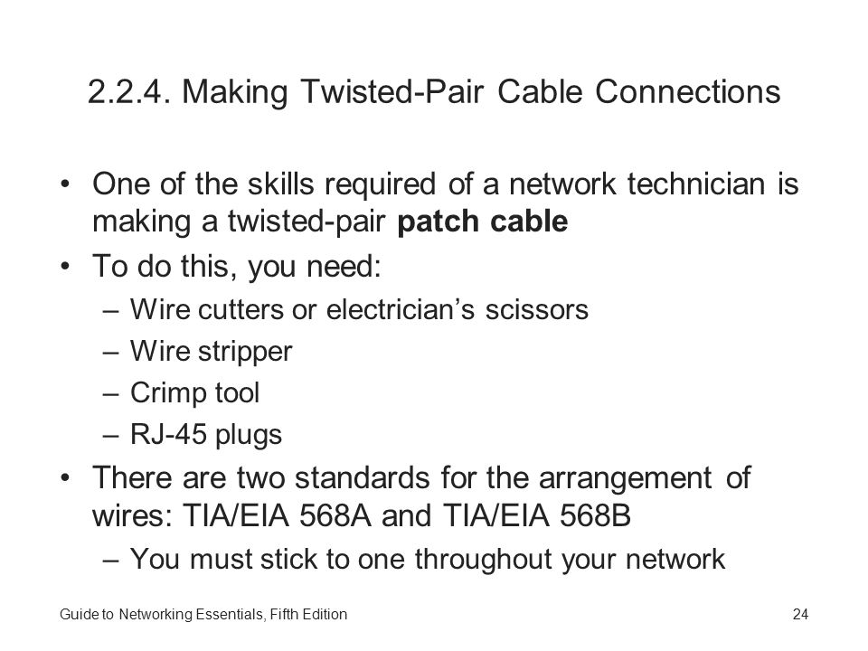 Guide to Networking Essentials, Fifth Edition24 2.2.4.