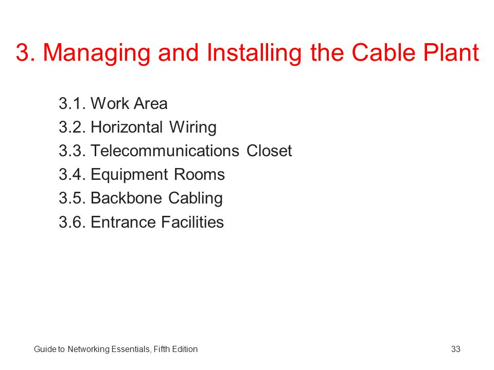 3.Managing and Installing the Cable Plant 3.1. Work Area 3.2.