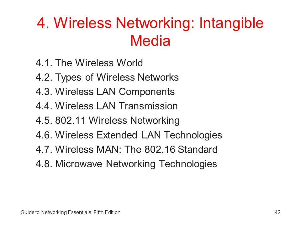 4.Wireless Networking: Intangible Media 4.1. The Wireless World 4.2.