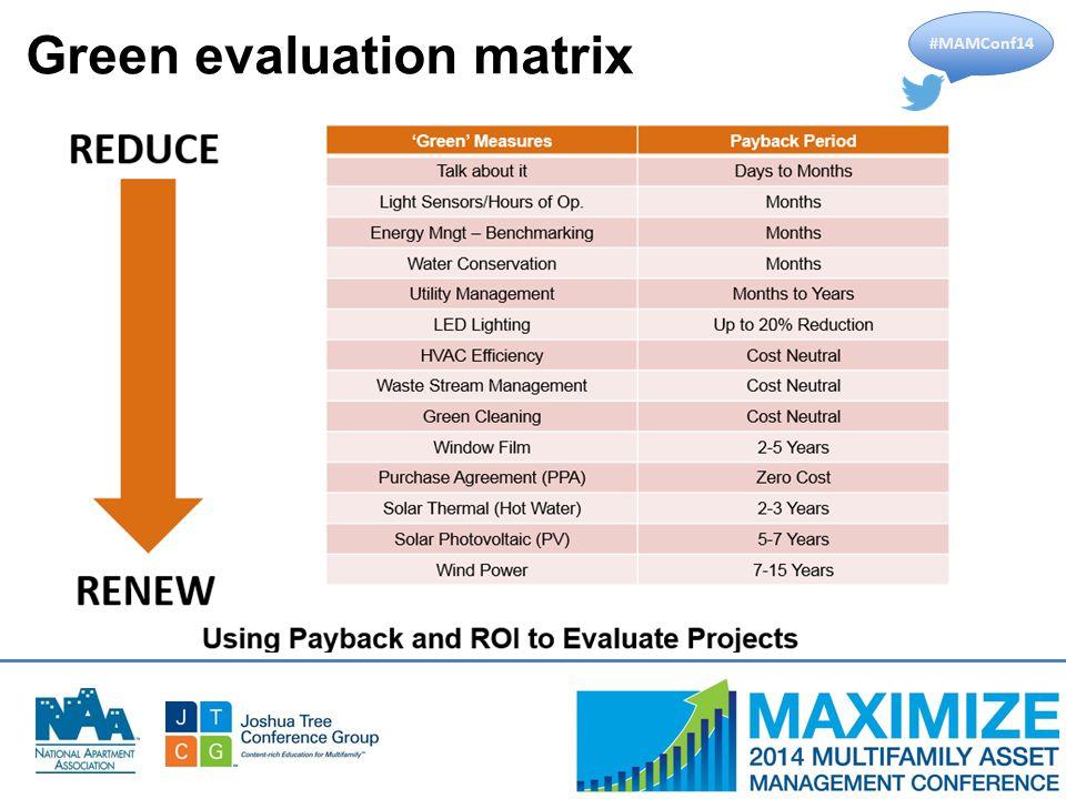 #MAMConf14 Green evaluation matrix