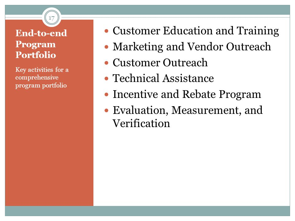 End-to-end Program Portfolio Key activities for a comprehensive program portfolio Customer Education and Training Marketing and Vendor Outreach Custom