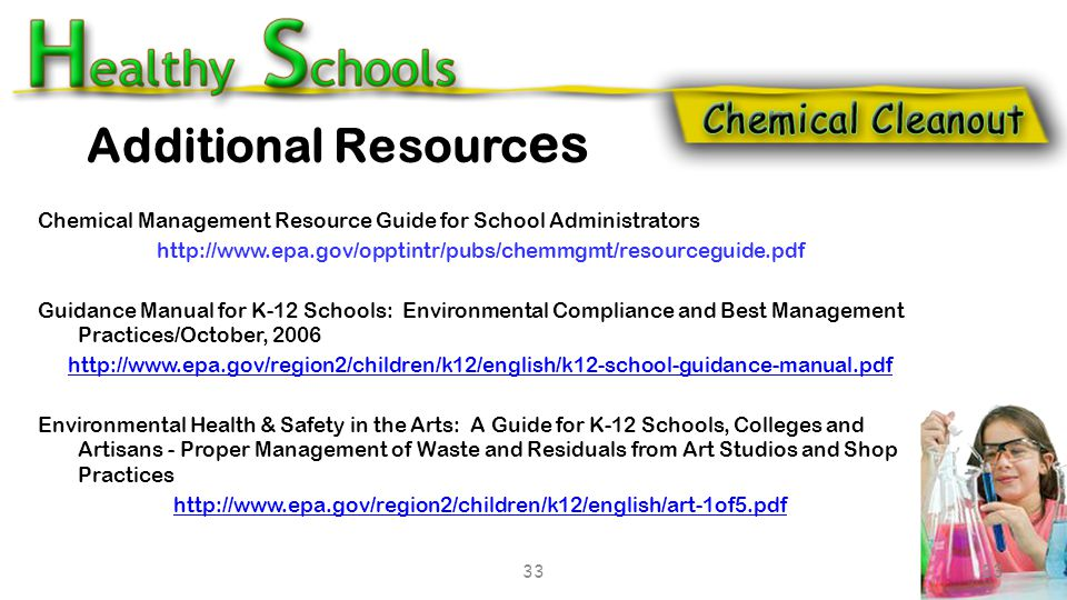  Determine how your school/district will use this information to establish and sustain a chemical cleanout campaign.  What needs to be done short-te