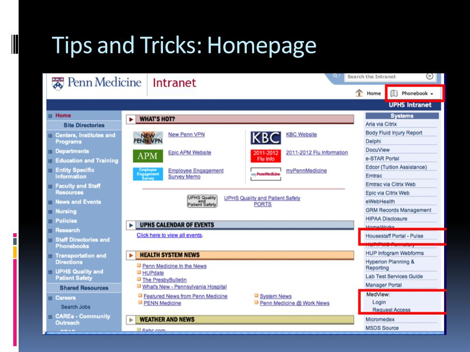 Tips and Tricks: Homepage