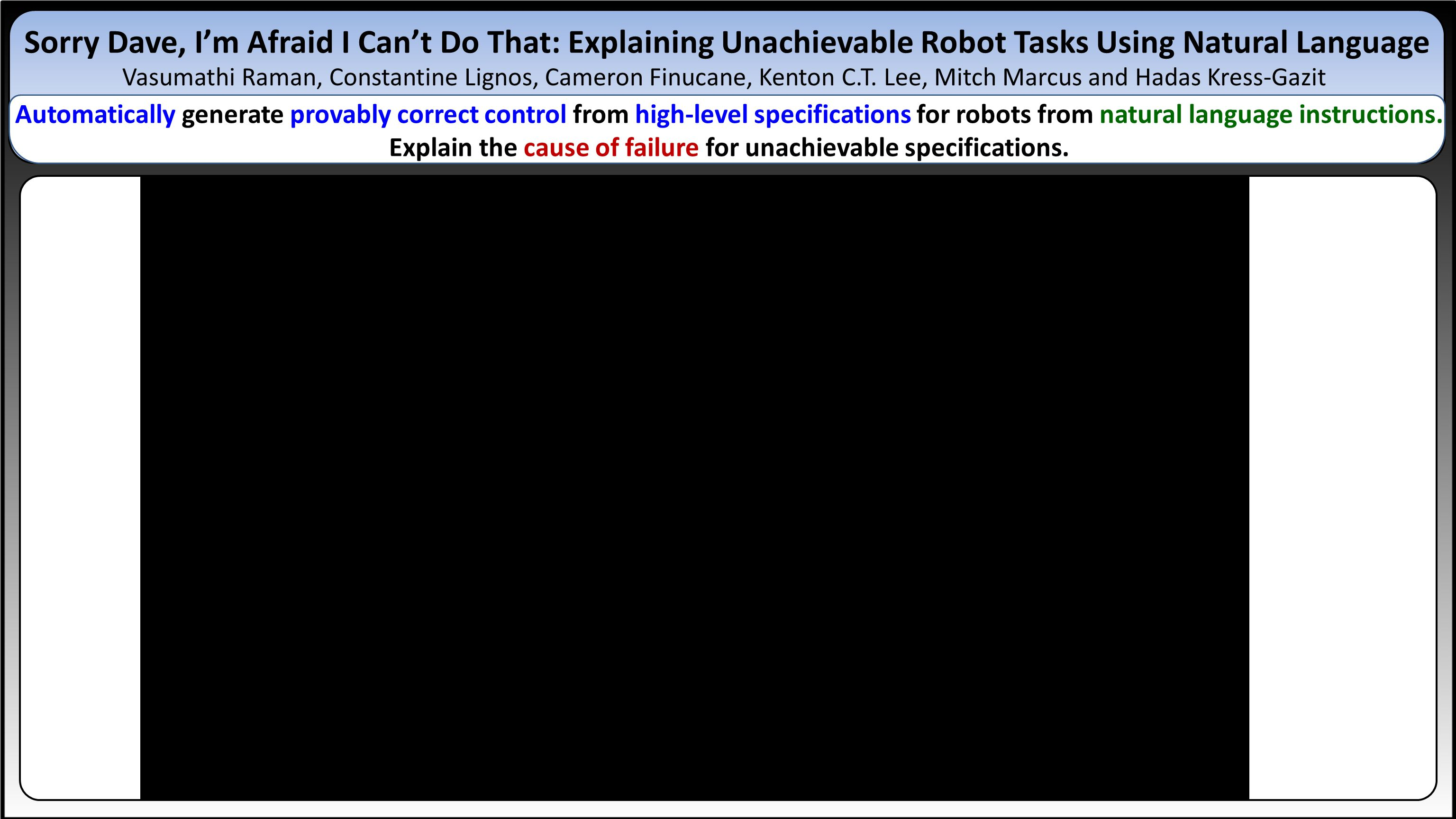 Sorry Dave, I'm Afraid I Can't Do That: Explaining Unachievable Robot Tasks Using Natural Language Vasumathi Raman, Constantine Lignos, Cameron Finucane, Kenton C.T.