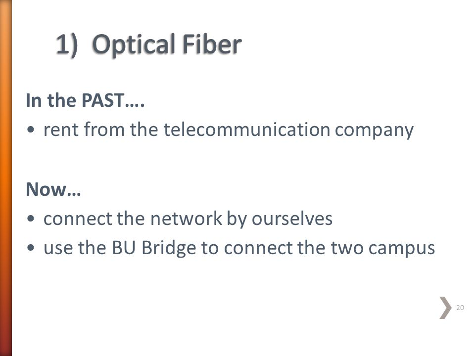 In the PAST…. rent from the telecommunication company Now… connect the network by ourselves use the BU Bridge to connect the two campus 20