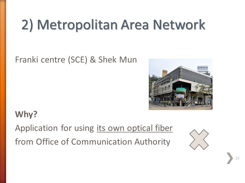 Franki centre (SCE) & Shek Mun Why? Application for using its own optical fiber from Office of Communication Authority 23