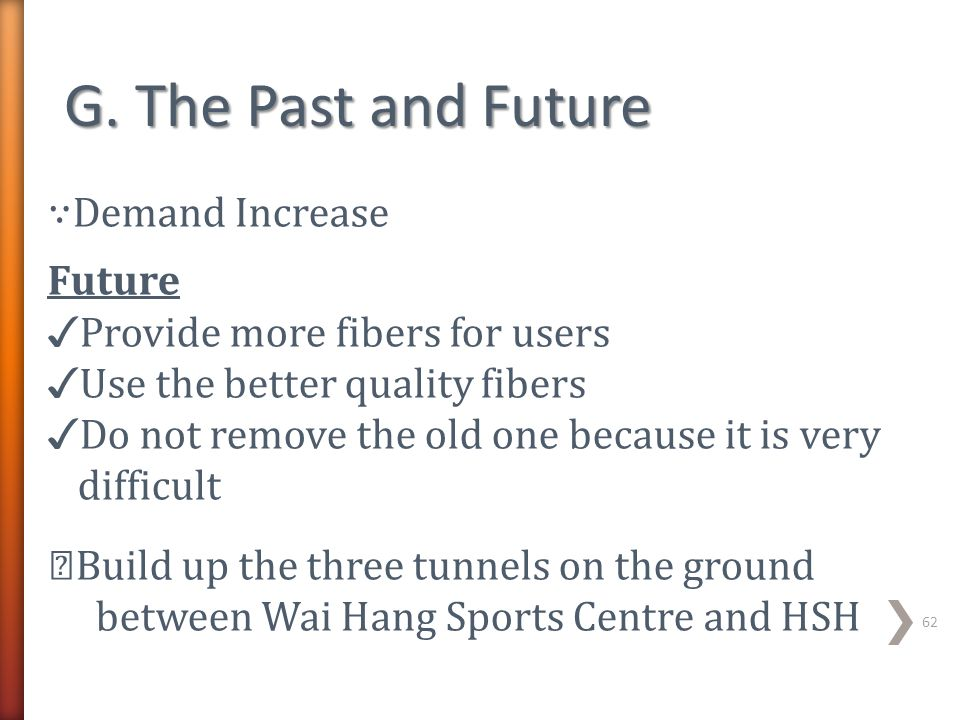 ∵ Demand Increase Future ✓ Provide more fibers for users ✓ Use the better quality fibers ✓ Do not remove the old one because it is very difficult ☆ Bu