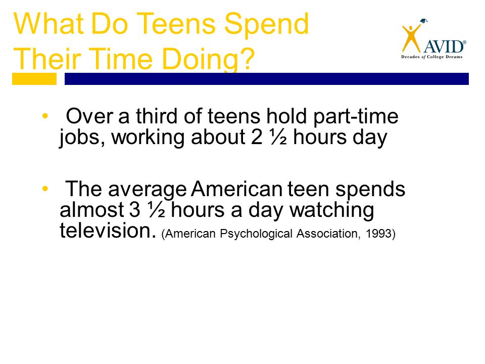 What Do Teens Spend Their Time Doing? Over a third of teens hold part-time jobs, working about 2 ½ hours day The average American teen spends almost 3