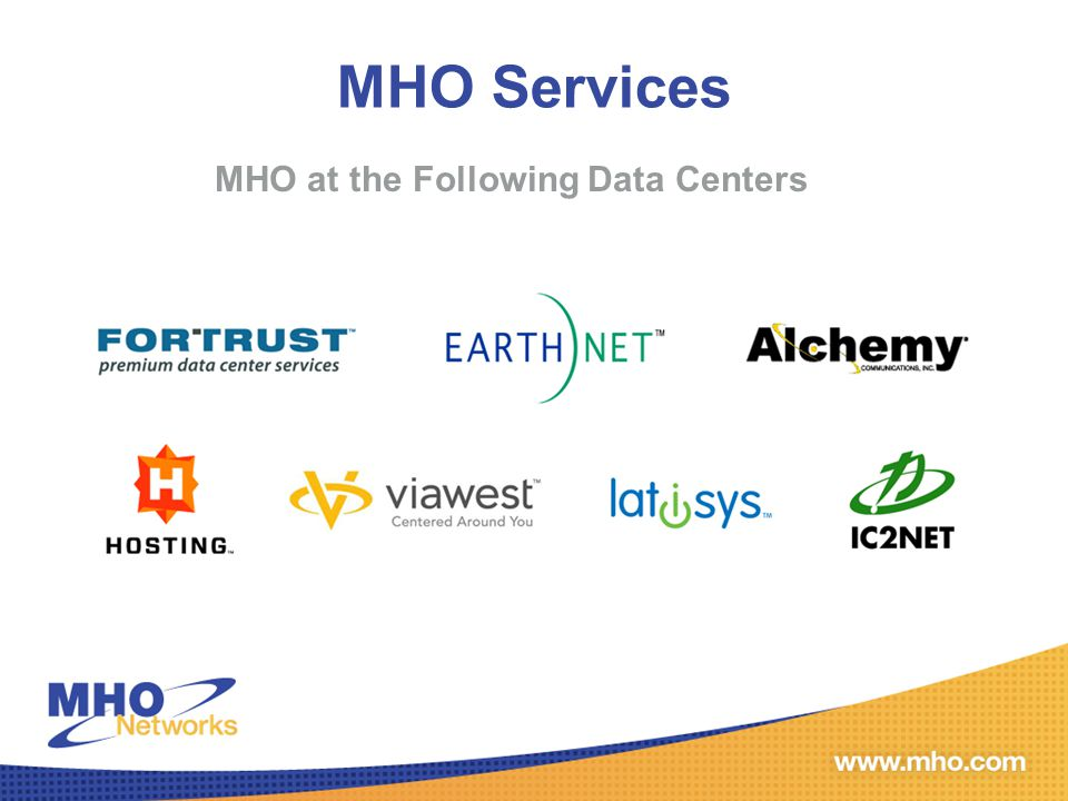MHO's Value MHO is The Alternative to terrestrial carriers To Your Customer: Fiber or EoC are not Viable Options Fast and/or Guaranteed Installation is a must Best form of true diversity To You: Become a trusted solution source to your customer Include MHO up front in your quotes Your order will get installed