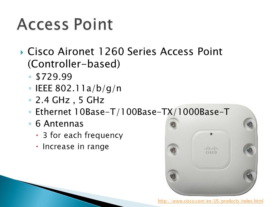  Cisco Aironet 1260 Series Access Point (Controller-based) ◦ $729.99 ◦ IEEE 802.11a/b/g/n ◦ 2.4 GHz, 5 GHz ◦ Ethernet 10Base-T/100Base-TX/1000Base-T