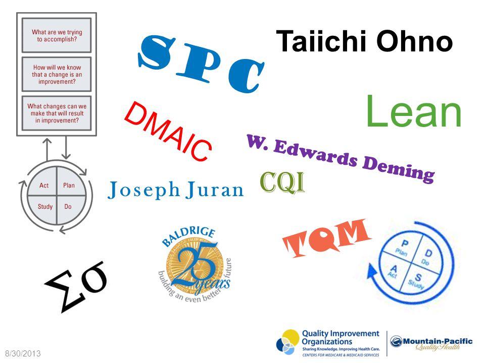Lean TQM CQI W. Edwards Deming Joseph Juran SPC DMAIC Taiichi Ohno 8/30/2013