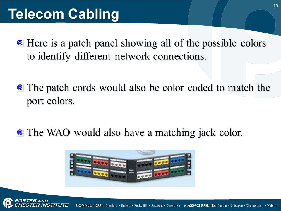 19 Telecom Cabling Here is a patch panel showing all of the possible colors to identify different network connections.