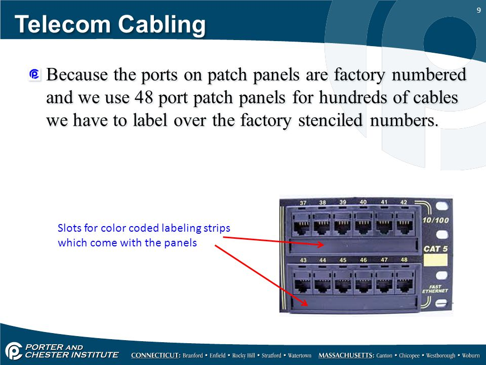 9 Telecom Cabling Because the ports on patch panels are factory numbered and we use 48 port patch panels for hundreds of cables we have to label over