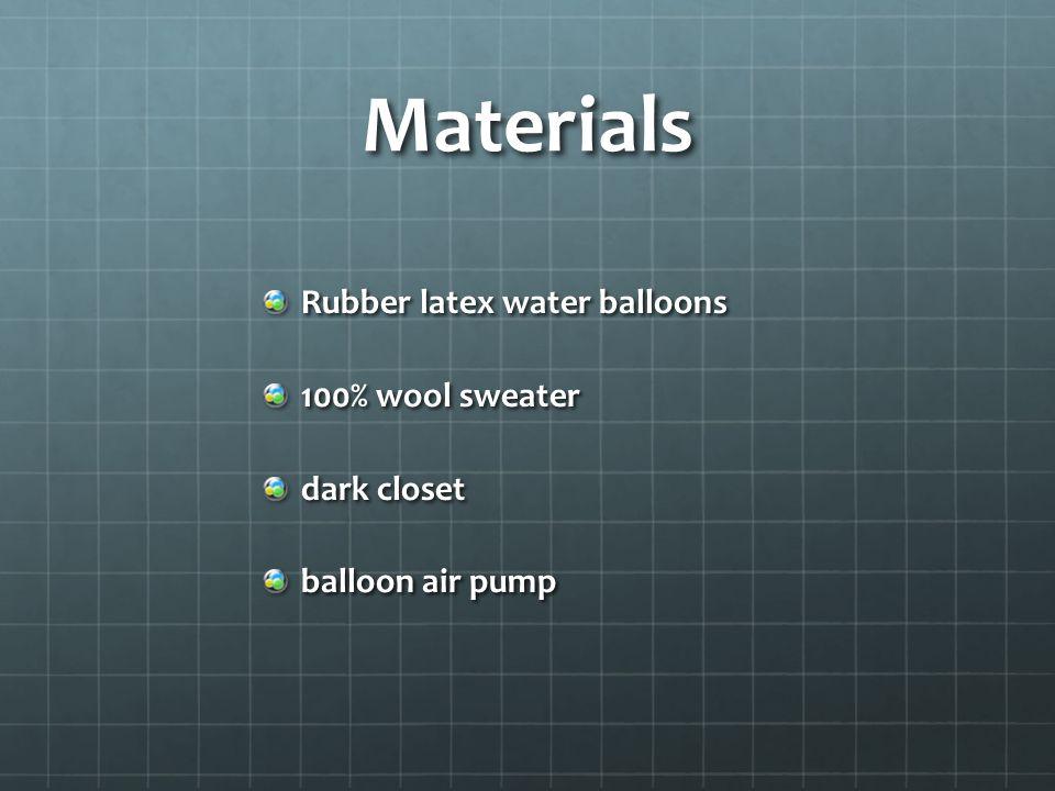 Materials Rubber latex water balloons 100% wool sweater dark closet balloon air pump