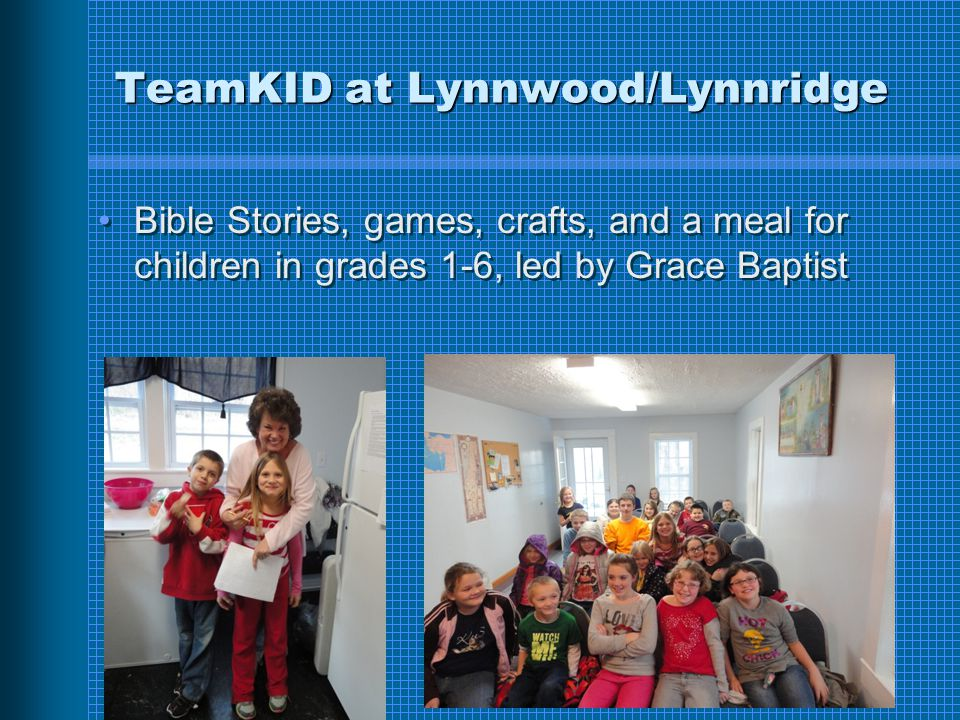 TeamKID at Lynnwood/Lynnridge Bible Stories, games, crafts, and a meal for children in grades 1-6, led by Grace Baptist