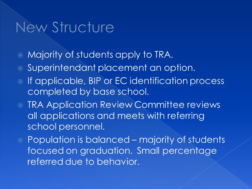  Majority of students apply to TRA.  Superintendant placement an option.