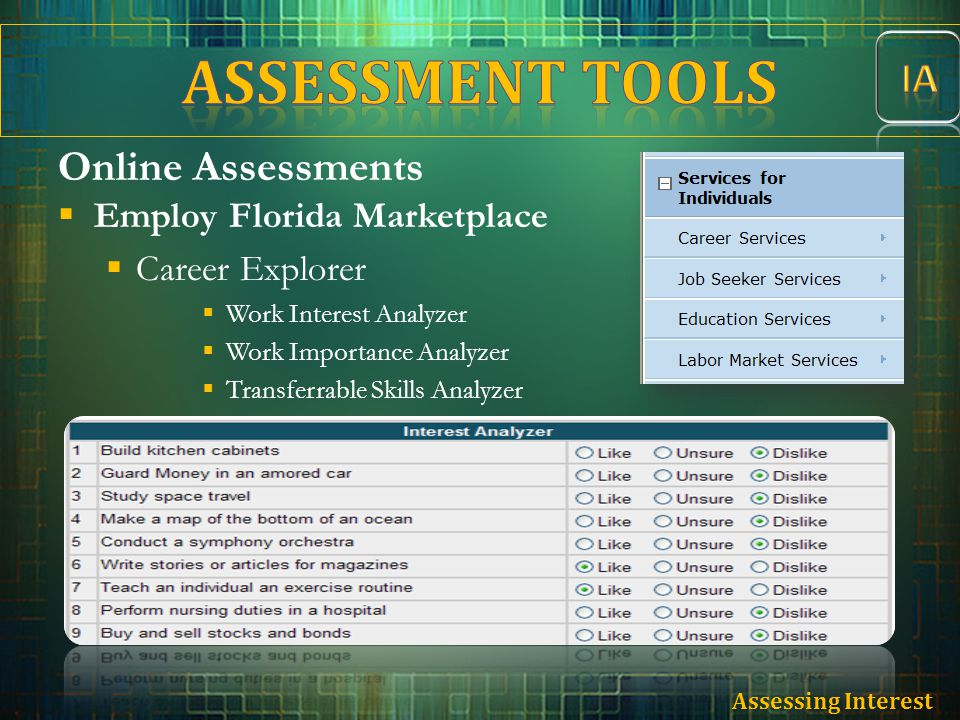 Online Assessments  Employ Florida Marketplace  Career Explorer  Work Interest Analyzer  Work Importance Analyzer  Transferrable Skills Analyzer